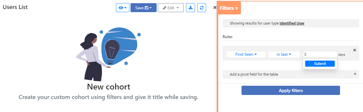 Create your custom cohort using filters and give it title while saving